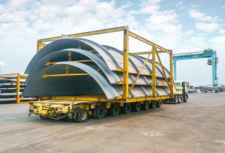 7 mtr wide pcs being transported from port