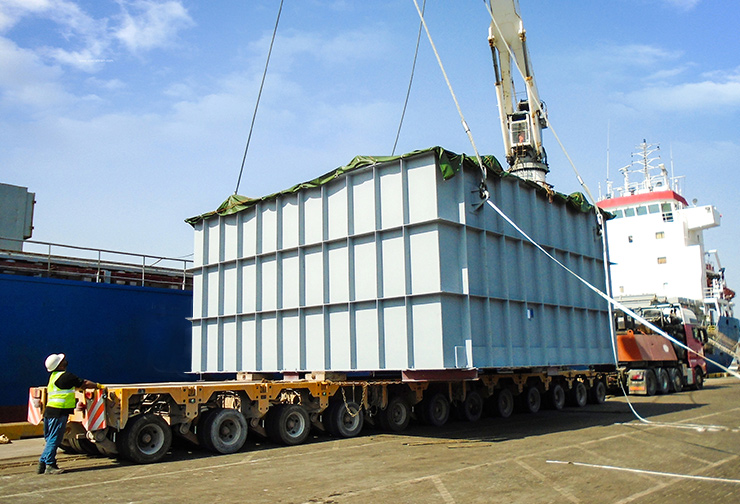 8 mtrs wide pcs being recived at port General cargo being handled at port